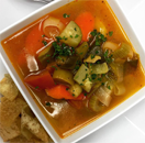 Vegetable Soup with Grilled Chicken